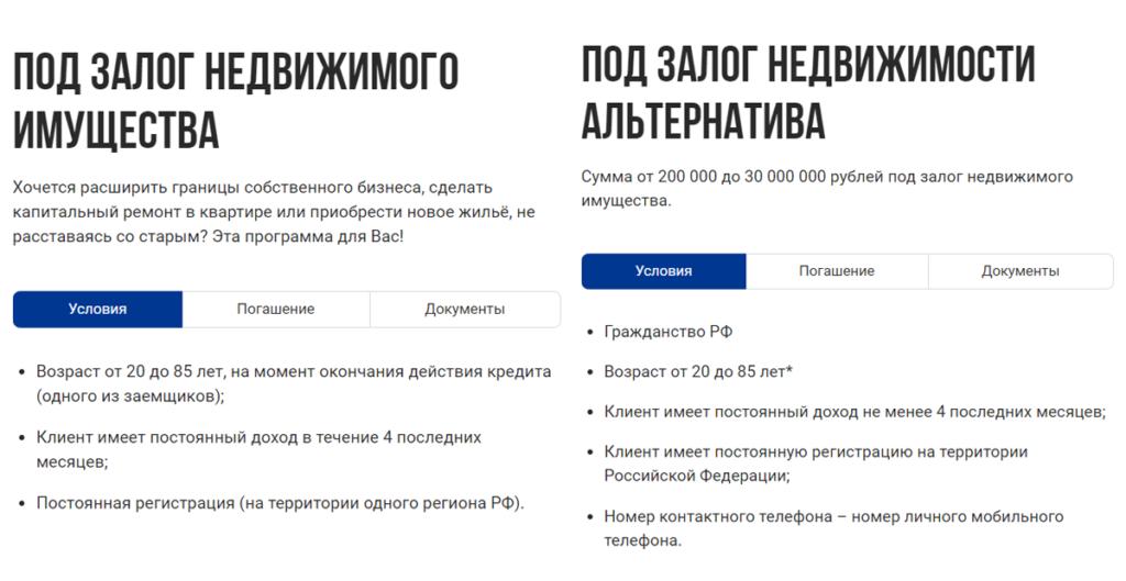 Условия по кредиту под залог недвижимости в Совкомбанке